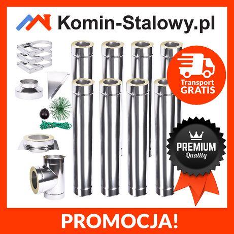 KOMIN Stalowy Dwuścienny Izolowany Fi180/240 8m gr. 1.0 mm - Na Węgiel