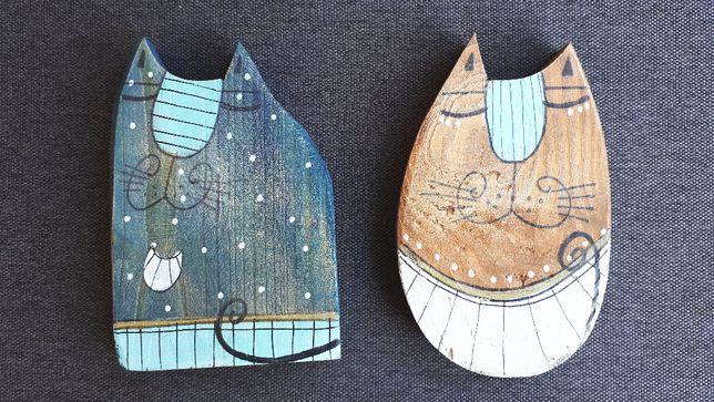 Kot Koty malowane na drewnie Upominek Prezent Dzień Matki Dekoracja