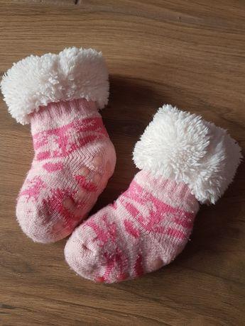Skarpetki/buciki góralskie niechodki różowe z futerkiem