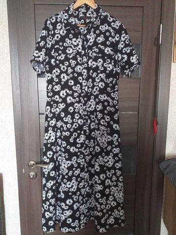 Платье черное белое в мелкий цветочек