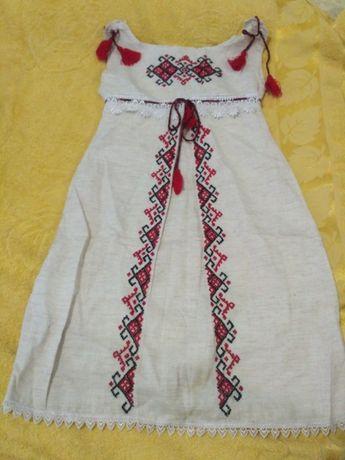 Сарафан вышиванка, натуральный лен, ручная работа, 130-140