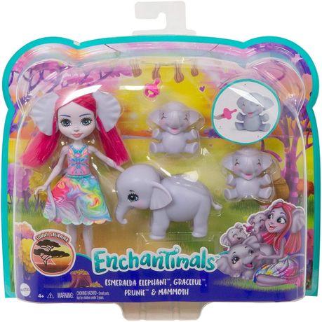 Enchantimals кукля слон лялька Esmeralda Elephant, Graceful, Prunie &