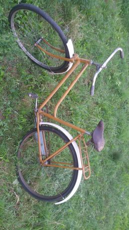 Stary rower damka skórzane siodełko