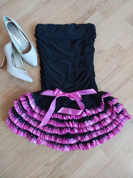 Sukienka czarna z falbankami XS