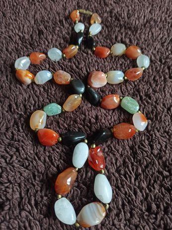 Korale, agaty, kamienie naturalne, naszyjnik