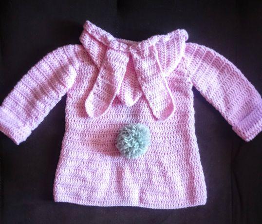 Różowy sweterek Króliczek Handmade