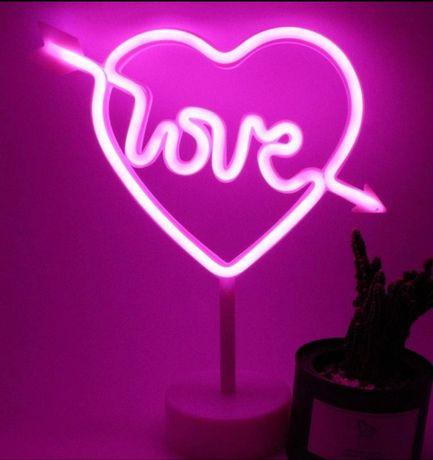 Лампа неоновая Love сердце любовь неон ночник usb