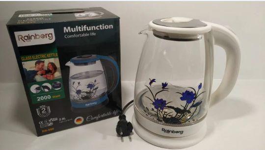Електричний скляний чайник 1.8 л Rainberg (білий)