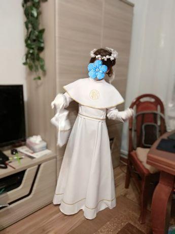 Sukienka komunijna- Alba 134-140 + wianek, torebka, rękawiczki, buciki
