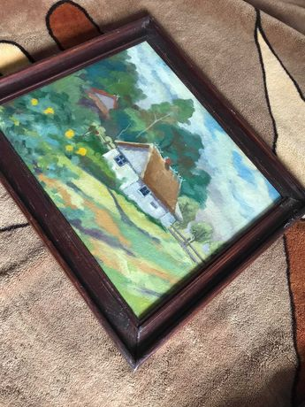 Obraz olejny na płótnie chatka w lesie