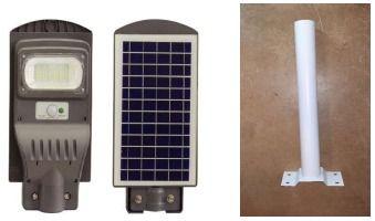 Projetor LED (20W ou 90W) com painel solar e poste incorporados