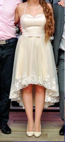 Beżowa sukienka z koronką na wesele, ślub cywilny, imprezy