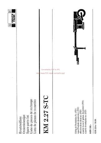Katalog części kosiarka Deutz fahr KM 2.27 STC jz. Niemiecki