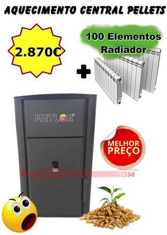 Kit Caldeira Pellets 18Kw + 100 Elementos Radiador