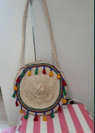 Nowa torebka letnia słomiana sznurek jutowy frędzle boho