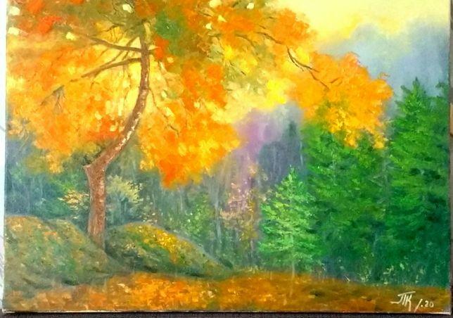 картина масло холст 40Х55 см осенний пейзаж, осень