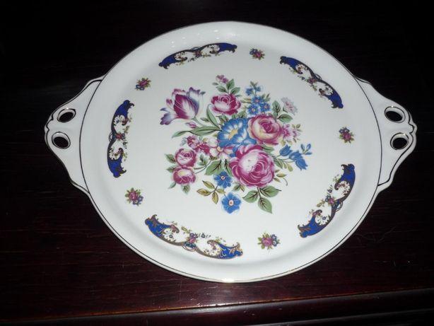 Prato de porcelana T Limoges com asas de 36 cm