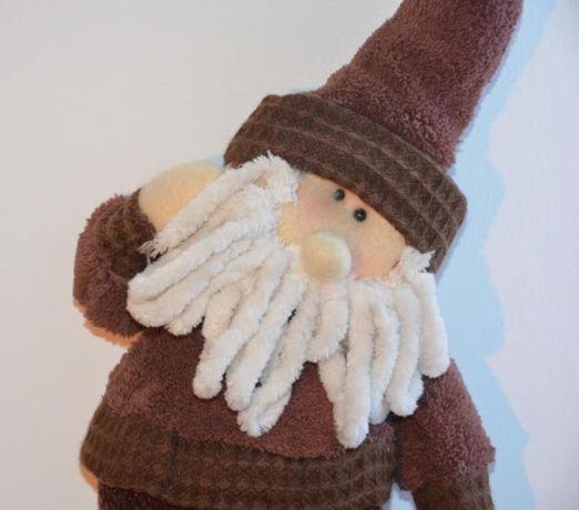 Pai Natal, de pendurar, em tecido castanho macio-Origem: Alemanha