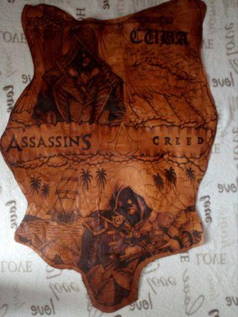 Plakat Assassins Creed na skórze