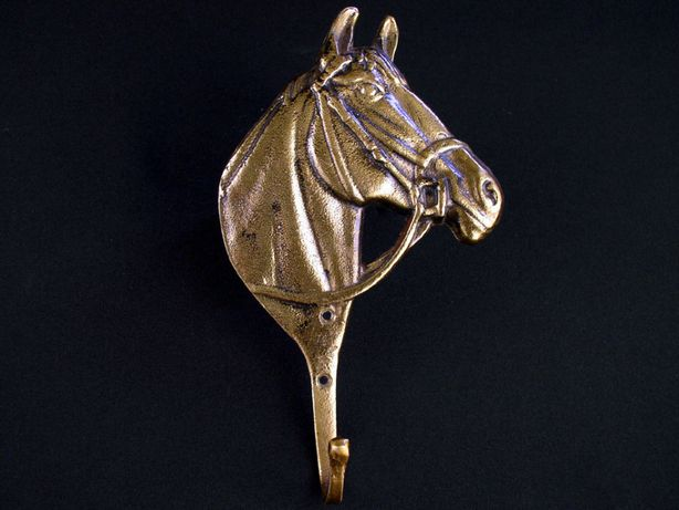 Mosiężny wieszak koń - łeb konia 16,5 cm wys
