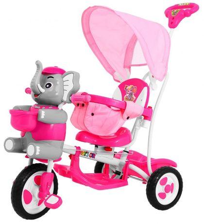 Pierwszy Rowerek 3 Kołowy dziecięcy Szczęśliwy Słoń niebieski lub róż
