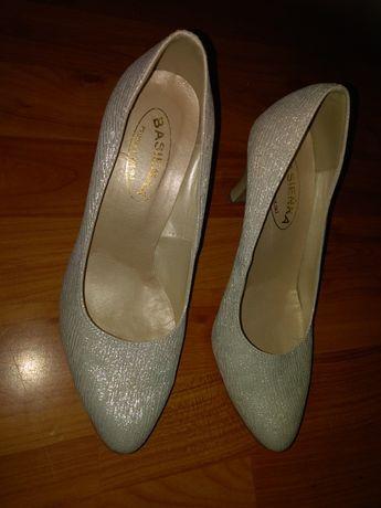 Skórzane buty szpilki Święta Uroczystości Wesele rozm 39