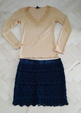 Zestaw S 36 Amisu spódniczka mini czarna bluzeczka długi rękaw