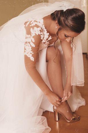 Suknia ślubna z welonem ręcznie zdobionym 34/36 160cm