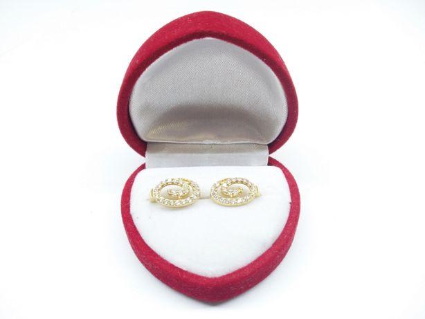 Złote kolczyki zawijasy z cyrkoniami p.585 2,80g