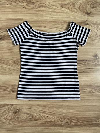 T-shirt bluzka w paski z dekoltem w łódkę
