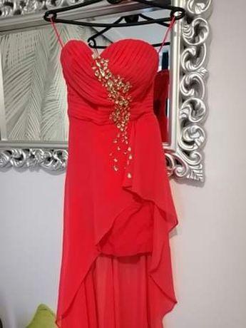 Sukienka suknia wieczorowa tren cyrkonie