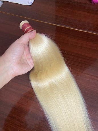 Натуральные волосы блонд 70 см
