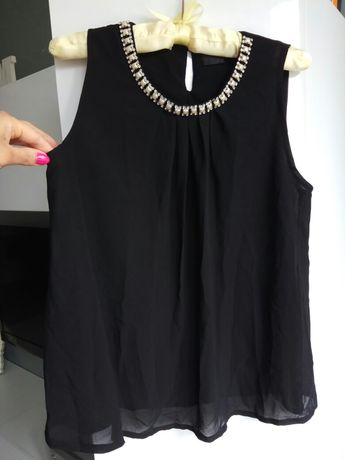 Elegancka wizytowa bluzka bluzeczka czarna zwiewna S czarna