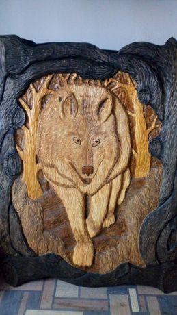"""Картина """"Вовк"""" (волк). 160х120 см. Різьба по дереву. Резьба по дереву."""