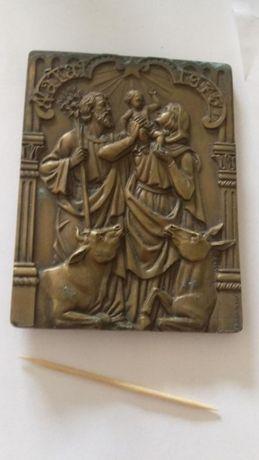 Arte Sacra - Placa em Bronze com relevos religiosos