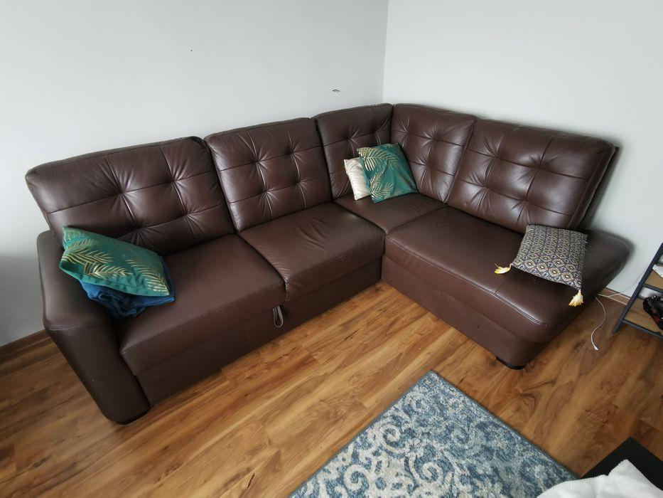 Skórzany narożnik skóra naturalna, sofa rozkładany 200x245 Radom - image 1