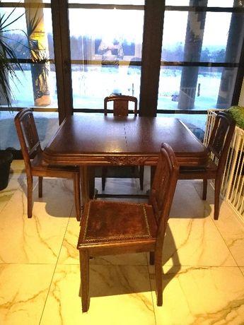 Zestaw stół rozkładany drewniany dębowy + 4 krzesła obite skórą Antyk