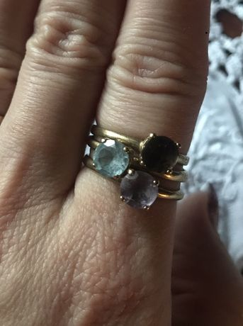 Komplet 3 złotych pierścionków modułowych