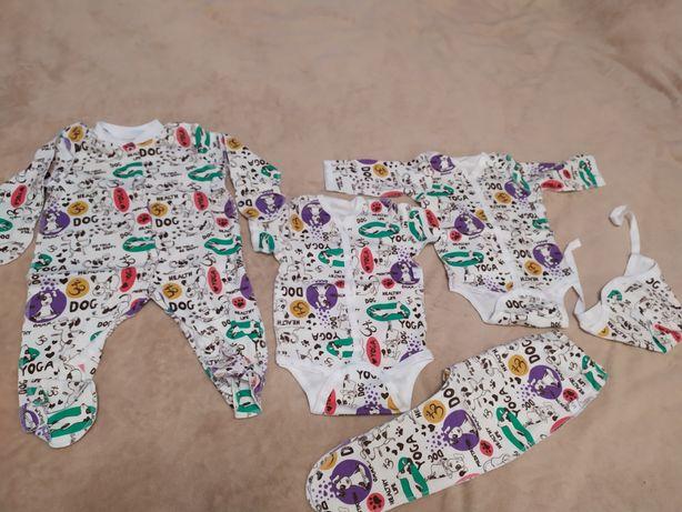 Набор новорожденного, человечек, бодик, ползунки в роддом 56-62см
