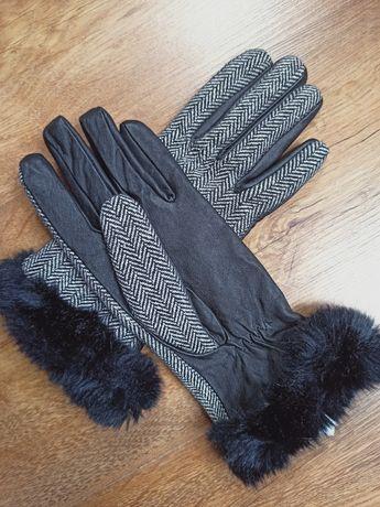 Eleganckie rękawiczki z futerkiem