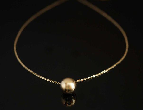 Złoto 585-złoty łańcuszek z kulką diamentowany