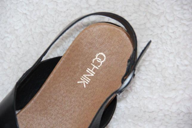 SKÓRA BYDLĘCA OCHNIK sandałki buty czarne 39 skórzane klapki