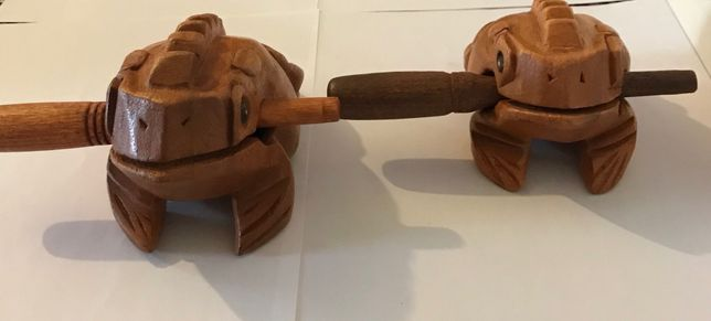 Sapos de Madeira Reco-Reco (instrumento musical) 12,5cm e 15,5cm Novo