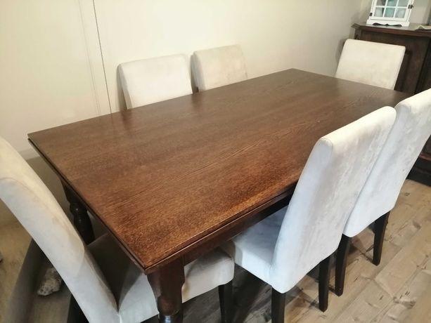 Stół drewniany duży rozkładany plus 6 krzesel