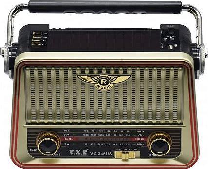 Radio VXR z wbudowaną baterią + ładowanie solarne + microSD USB MP3