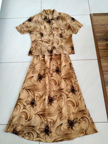 Komplet długa spódnica i bluzka na wesele w kwiaty XL