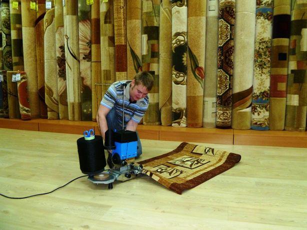 Оверлок ковров на дому у клиента, оверлок на выезде ковролина дорожек