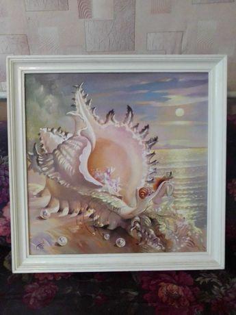 картина масляными красками в белой рамке 162х162