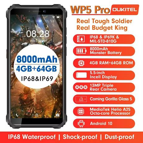 Гарантия! 4+64GB Oukitel WP5 Pro IP68 5.5HD+ Helio A25 аккум 8000 мАч