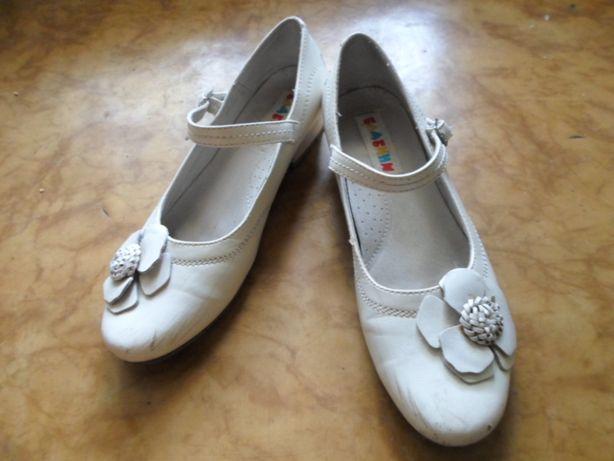 Туфли белые кожаные